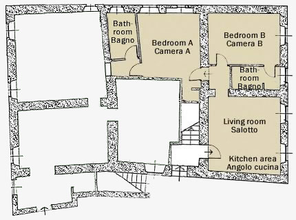 plan of San Giovanni East villa: space and comfort in Tuscany
